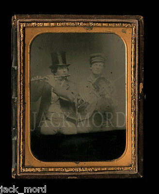 Rare Half Plate 1850s Ambrotype of Musicians by Root's Gallery of Philadelphia