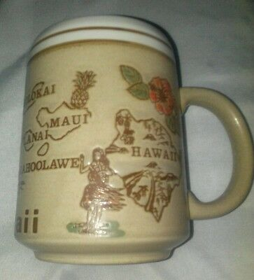 Vintage Hawaiian Islands Embossed Coffee Mug Cup Aloha Hawaii 4""