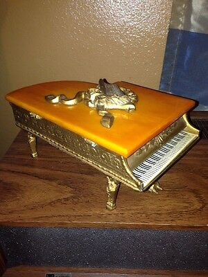 Vintage Swiss Thorens Gold Gilt Grand Piano Music Box Bakelite Lid Very Detailed