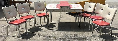 Retro 1950's Dinette Set w/ 6 Chairs Table and Extra Leaf Chrome Legs