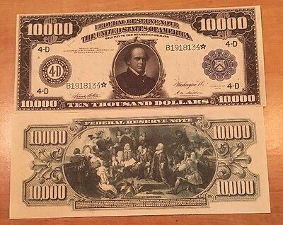 Reproduction Money 1914 Fed Res Blue Seal $10,000 Fantasy US Currency Copy Note