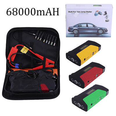 68000ma Portable Emergency Start Car Jump Starter Power Bank With 3 Lights MU