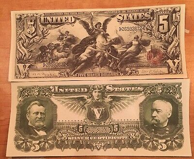 Reproduction Money 1896 $5 Educational Series Silver Cert Currency Copy Note