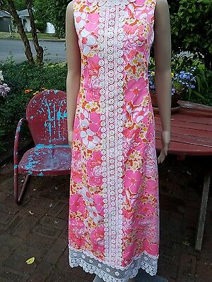 VTG THE LILLY PULITZER Pink White Floral Sleeveless Crochet Lace Maxi Dress