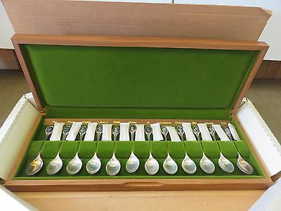 Royal Horticultural Society English Flower Spoons Vintage Sterling Silver Set 12