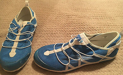 *Womens Size 10 LANDS END Blue & White Mesh Elastic-Lace-Up Water Shoe!