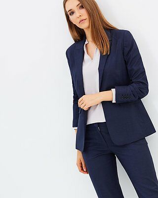 Farage Lane Womens Wool Jacket Blazer Suit - Navy Size 10