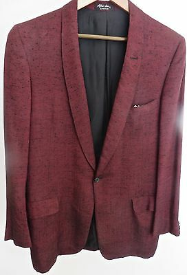 Vintage 1950-60's Men's Maroon Sharkskin Dinner.Tuxedo Jacket, Necktie/38-40?