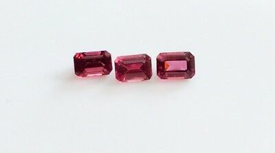 EMERALD CUT SHAPE NATURAL RHODOLITE GARNET 6x4MM LOOSE GEMSTONE