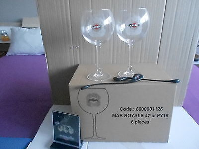 "MARTINI ROYALE: 6 VERRES 47 cl LOGO ""CREST ARMOIRIES"" + 1 CHEVALET"