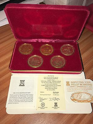 Commemorative Coin ISLE OF MAN 1979 MILLENNIUM OF TYNWALD SOLID SILVER CROWN SET