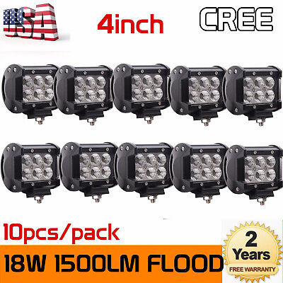 10x 4inch 18W CREE LED Work Light Bar Pod Flood Beam Fog Driving Lamp Truck SUV