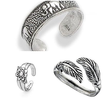 Set Of 3 Sterling Silver Toe Rings Elephant,Flower,Leaf Comes Gift Boxed