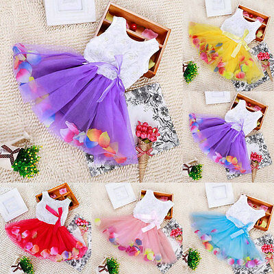 Baby Kid Girl Summer Tutu Lace Bow Skirt Casual Princess Party Flower Dress New