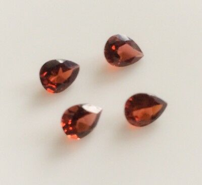 4 PC PEAR CUT SHAPE NATURAL GARNET 5x4MM LOOSE GEMSTONES