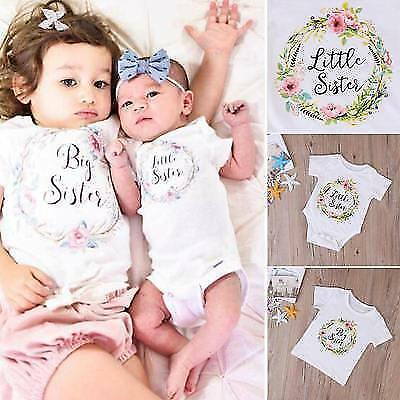 Baby Kids Girl Little Big Sister Romper Bodysuit Jumpsuit Clothes Outfit T-Shirt