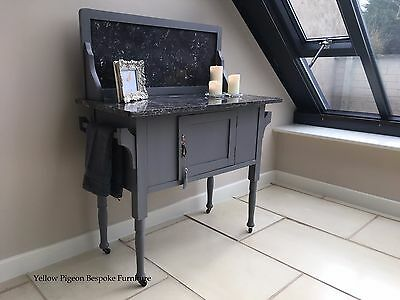 Antique Victorian Hand Painted Grey Wash Stand Marble Top & Back 100 m free del