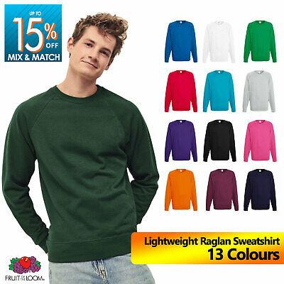 Fruit Of The Loom Men's Raglan Sweat Sweatshirt Jumper Plain Pullover Sweater