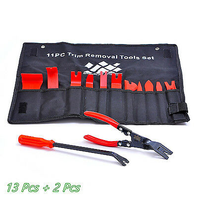 13 Pcs Nylon Car Upholstery Trim Removal Tool & 2*Fastener Clips Removers Pilers