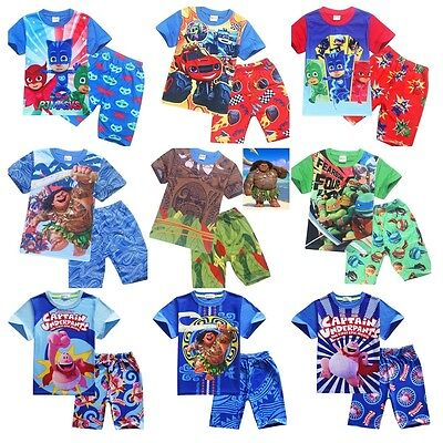 UK Kids Maui  Nightwear Sleepwear Moana Pajamas T-shirt+Short Pants Outfit Lot