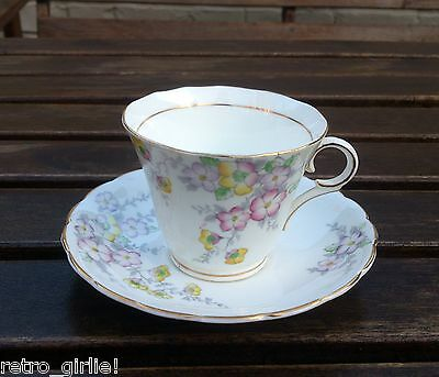Vintage Art Deco Colclough Longton Bone China Floral Tea Cup & Saucer Wedding