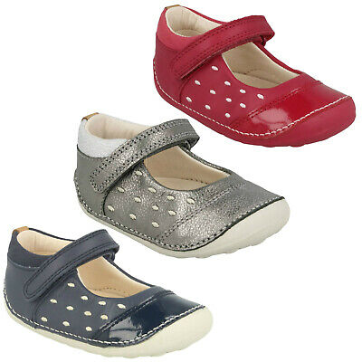 Girls Clarks Little Lou Hook & Loop Casual Babies First Shoes Mary Jane Size
