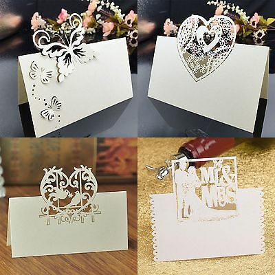 10 Heart Lover Flower Laser Cut Table Name Place Cards Wedding Party Decor Favor