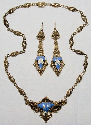 ANTIQUE HUNGARIAN EMPIRE GOLD WITH BLUE ENAMEL NECKLACE & EARRINGS 1850's