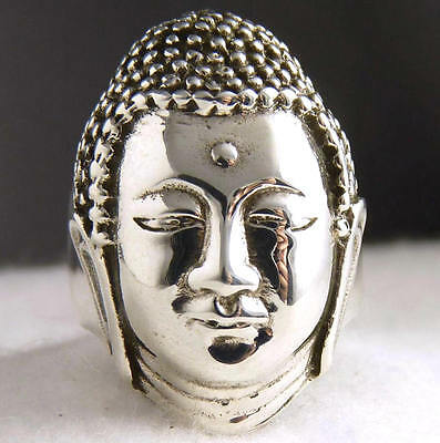 US 6 1/2 ~ SilverSari 'BUDDHA' Ring ~ Very Solid & Heavy 925 Sterling Silver