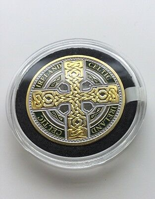 Celtic Knot Cross Gold Plated Commemorative Token . Ireland And Celtic Text.