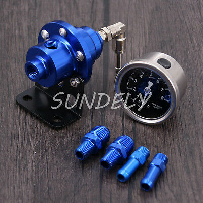 Universal Adjustable Fuel Oil Pressure Regulator Valve with Gauge Blue