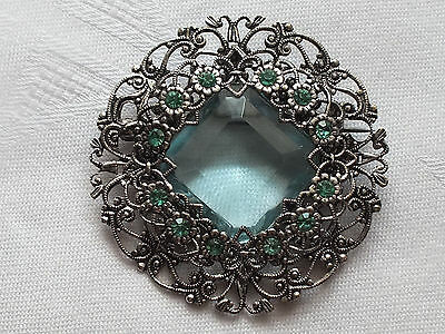 Antique CZECH ART DECO Filigree green and turquoise glass Brooch pin