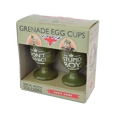 Dad's Army Grenade Egg Cup Set Stupid Boy Don't Panic Dads Army