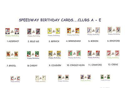 Speedway Retro Programme Birthday Cards.various Clubs A - E..17  Designs.free Uk