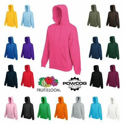 Fruit Of The Loom Classic Hooded Sweatshirt Jumper Plain Pullover Sweater Hoodie