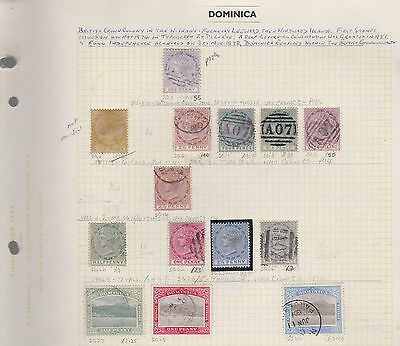 DOMINICA 1874-1938 on 3 album pages mint & used cv£220+