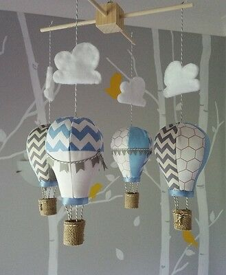 Baby mobile for childs nursery - Hot Air Balloons in pale blue, grey and white