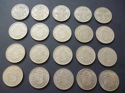 Halfcrowns coins a complete date run of 20 different dates half crowns 1947-1967