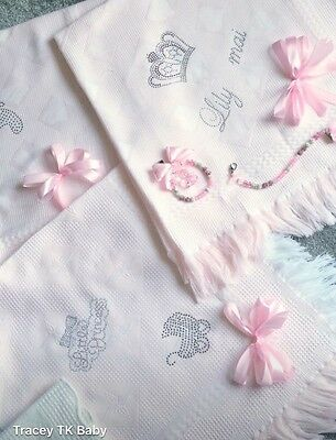 beautiful white/pink/blue baby Boys shawl**NEW**PERSONALISED With Name/8+ Letter
