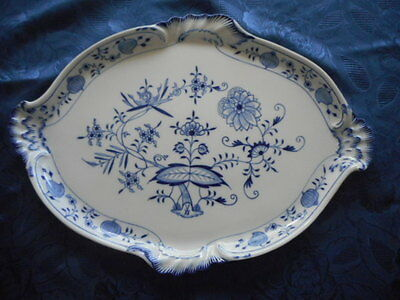 Antique Meissen Blue Onion Platter Gold Trim 13 1/4 x wide x 18 1/4 long
