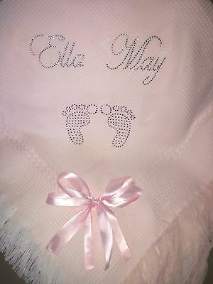 beautiful White💗/💙baby Boys Girls Shawl**NEW**PERSONALISED With Name/8+ Letter