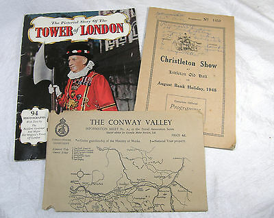 Vintage Travel Brochures England 1948 Chistleton Show Tower of London Wales