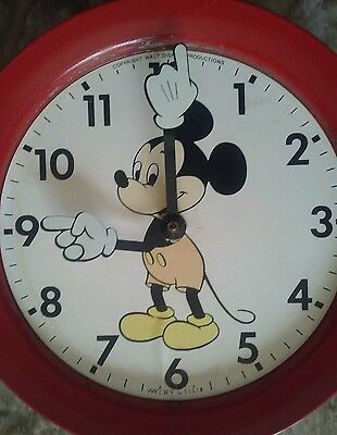 Vintage Mickey Mouse Electric Metal Wall Clock Welby By Elgin