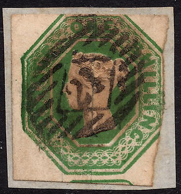 GB QV 1847 1/- Deep Green SG56 Embossed Issue Good Used Cut Square on Piece