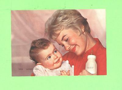 Vintage Calendar Image Mother Love Milk Time Bay And Woman Beauty