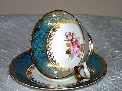 Aynsley Turquoise Blue Border Gold Pink Rose center tea cup and saucer