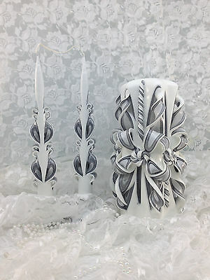 Carved Unity Candle Set Charcoal Gray & White Custom Color Available