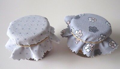 20 Homemade ~ MINI ~ grey selection jam jar covers with rubber bands.