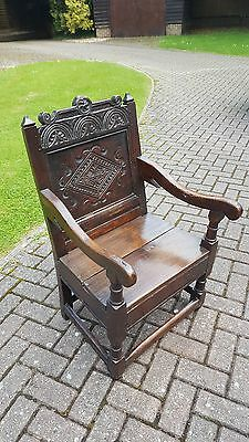 Antique 17th Century Carved Oak Wainscot Chair