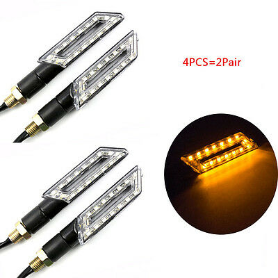 4x Knife motorcycle LED Turn Signals Light Blinker Amber Indicator 12V Universal